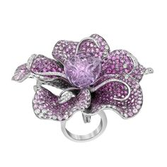 Diamond Sapphire Amethyst Gold Flower Ring Pendant Brooch | From a unique collection of vintage brooches at https://www.1stdibs.com/jewelry/brooches/brooches/