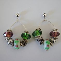 Pandora style pink and green beaded earrings available on Etsy