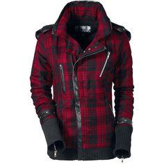 Lämmin takki pehmeällä vuorilla ja hieman vinolla etuvetoketjulla.  Tummia takkeja on paljon. Mutta niistä tulee astetta tyylikkäämpiä, jos niissä on ruutukuvio ja lämpimät käsisuojat - kuten tässä Poizen Industriesin punamustassa  Z Jacket -takissa.