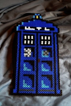fuse or perler bead tardis My kids are also Whovians and they love perler beads, they will love this project