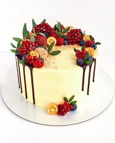 61 Ideas Fruit Cake Decoration Christmas For 2019 Cupcakes, Cupcake Cakes, Fresh Fruit Cake, Just Cakes, Cake Decorating Techniques, Holiday Cakes, Novelty Cakes, Drip Cakes, Pretty Cakes