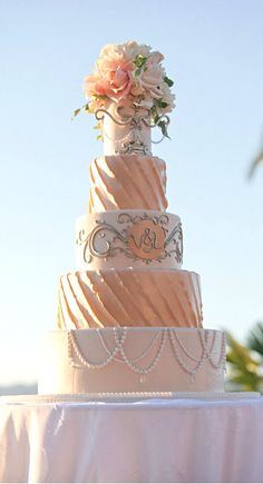 You can Find the perfect Wedding Cake Vendor on www.brides-book.com  | peach and silver wedding | www.endorajewellery.etsy.com