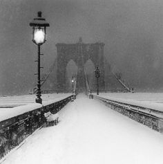 The Brooklyn Bridge in snow.