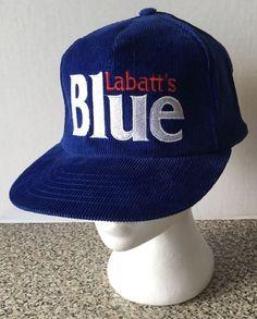 Labatt's Blue Beer Vintage Snapback Blue Hat Corduroy Truckers Cap Labatts Logo