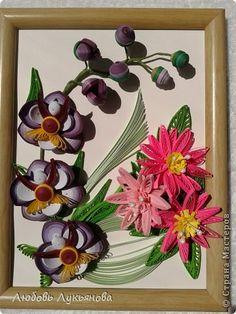 Картина панно рисунок Квиллинг И опять они-любимые орхидеи Бумажные полосы фото 1