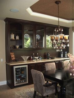 Wine Fridge In Dining Room Combo Hutch For Storage
