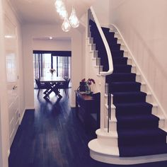 Entry inspiration, staircase inspiration, new home, custom builders, pendant lighting, timber floors, feature staircase