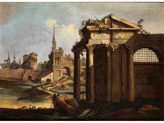 RÖMISCHES RUINENCAPRICCIO Öl auf Leinwand. Doubliert. 71 x 89 cm. Römische, antike Ruinengebäude im von rechts oben geführten, späten Sonnenlicht, das...