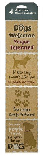 Set of 4 Stone Coasters ~ Dog Love Paw Decor ~ Perfect Dog Lovers Gift ~ Absorbent * Learn more by visiting the image link.
