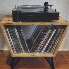 Hi, I'm Hayden and I'm a woodworker living and working in the West of Melbourne. Bored of the very limited range of storage options for my vinyl, I put my thinking cap on and came up with The Turntable Stand(ard). Made by hand using recycled hardwoods tak Record Player Console, Record Cabinet, Record Players, Record Table, Record Stand, Vinyl Record Player, Vinyl Record Storage, Diy Vinyl Storage, Vinyl Record Holder