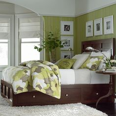#bassettfurniture  Redin Park Collection - Bassett Furniture  This would be the perfect start to my dream room - my bedroom. I love the colours used here; the green is bright and refreshing, yet the white and brown ground the room and make it cozy.