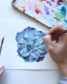 Can you draw with watercolor? let us know in the comments!,Can you draw with watercolor? let us know in the comments! By 💫 Release your creativity with a BONUS eBook Library by buying NIL Tech Pen. Watercolor Video, Watercolor Painting Techniques, Watercolour Tutorials, Watercolour Painting, Painting & Drawing, Watercolor Pencils, Watercolors, Watercolor Succulents, Watercolor Flowers