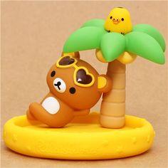 yellow Aloha Rilakkuma bear desk tray San-X palm tree Hawaii 1