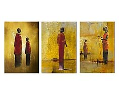 Composizione di 3 tele dipinte a mano Momenti spirituali - 20x60 cm