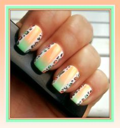 Neon & mini leopard nail art