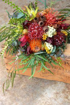 Fresh Summer Natives for a December Wedding - Pincushions, Banksia, Kangaroo Paw, Gum Nuts, Leucadendrons, Myrtle, Acacia, Agonis
