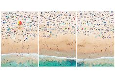 "Gray Malin, Coogee Beach triptych | beachgoers in Sydney, Australia, presented as a triptych. This work comes from the artist's ""À la Plage, À la Piscine"" series 