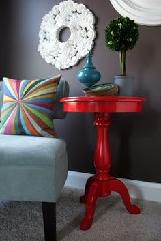 I'm Busy Procrastinating: Glossy lipstick-red side table