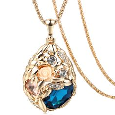 Brand Long Necklace Gold Plated Popcorn Chain Austrian Crystal Jewelry Pendant Necklaces Women Gift Rose Flower Necklace