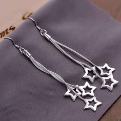 Chains and Stars Silver Dangled Earrings