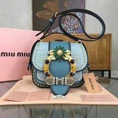 f9ccec3ccf4b Miu Miu Studs and Jeweled Buckle Dahlia Shoulder Bag Blue 2016     Real  Purse