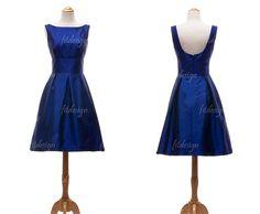 Classy dress--add a belt? royal blue bridesmaid dresses short bridesmaid by fitdesign, $93.00