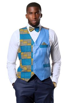 Get an absolute elegant look with these fit cotton blue kente fabric on the left cotton blue fabric on the rightPocket on the top rightFaux pocket on the bottom rightOur model wear a size M*** Matching Bow Tie and Square poc. African Fashion Designers, African Men Fashion, Africa Fashion, Mens Suit Vest, Mens Suits, Mens Fashion Wear, Men's Fashion, Men Wear, Fashion Suits