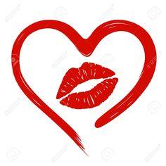 Coeur Dessiné Dans Empreinte De Rouge à Lèvres Et Des Lèvres ...