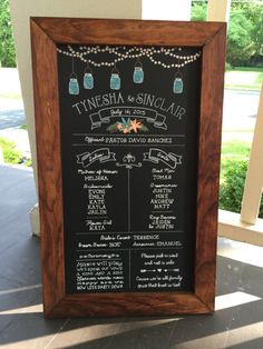 Personalized Framed Chalkboard Wedding Party with by TimberAndType