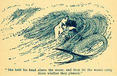 Illustration art Black and White vintage design mermaid mythology art nouveau Fairy tales of Hans Andersen helen stratton Vintage Mermaid, Mermaid Art, Mermaid Hotel, Mermaid Book, Mermaid Illustration, Illustration Art, Vintage Illustrations, Art Inspo, Mermaid Mythology