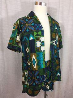 Vintage Cabana Set Men's Tiki Aloha Shirt Shorts Sears M Vtg Blue Green Gold  | eBay