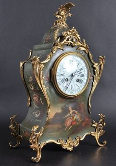 A LATE 19TH CENTURY FRENCH GILT METAL MOUNTED VERNE MATIN MANTLE CLOCK painted…