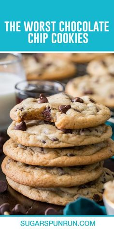 Are they the worst or are they the best chocolate chip cookies in existence? Either way, this easy, soft cookie recipe is insanely addictive. Worst Chocolate Chip Cookie Recipe, Soft Cookie Recipe, Bakers Chocolate, Healthy Chocolate Chip Cookies, Delicious Cookie Recipes, Chocolate Chip Recipes, Healthy Cookies, Yummy Cookies, Baking Recipes