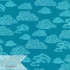 Bio-Stoffe - Bio Stoff Cloud9 First Light Numbus Teal Wolken - ein Designerstück von LottiKlein bei DaWanda
