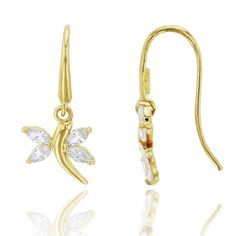 14K Yellow Gold Marquise Cut Flying Dragonfly CZ Dangling Earring. 14K SOLID GOLD: This product is made of solid 14K gold and each piece is carefully trademarked with the metal purity for certification. Each piece is stamped 14K or 585 and that guarantees the quality and craft. DESIGN & FINISH: We understand gold and we really understand the manufacturing process of precious metal. Each piece is carefully designed from scratch by our design department and we present to you our finished...