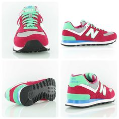 New Balance WL574 pink/green