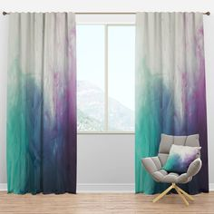 East Urban Home Designart 'Cyan, Blue And Pink Water In Ink Composition' Mid-Century Modern Curtain Panels Size per Panel: x Dip Dye Curtains, Ombre Curtains, Drapes Curtains, Curtain Panels, Turquoise Curtains, Colorful Curtains, Mid Century Modern Curtains, Window Treatment Store, Window Treatments