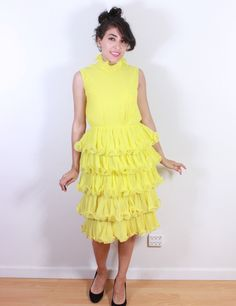 1960s Miss Elliette California Mellow Yellow Cocktail Ruffle Dress by VintageRevival818 on Etsy