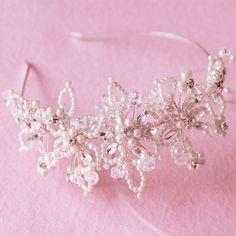 Flower Hair Band, Flowers In Hair, Crystal Flower, Crystal Beads, Pearl Headband, Headband Hair, Headbands, Hair Hoops, Floral Headpiece