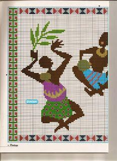 Punto De Cruz - Mas de 5,000 Gráficos: AFRICANOS BAILANDO