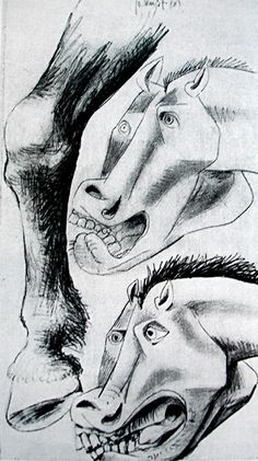 Picasso: Sketch for Guernica's Horse Picasso Guernica, Pablo Picasso Drawings, Picasso Sketches, Picasso Cubism, Picasso Paintings, Cubist Movement, Conceptual Drawing, Georges Braque, Oeuvre D'art