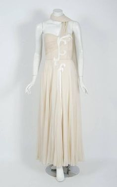 802127a5e48 1940 s Saks Fifth Avenue Ivory-creme Beaded Chiffon One-shoulder Goddess  Gown