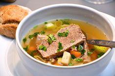 Pot au feu - fransk suppe med oksekød og grøntsager Thai Red Curry, Supper, Ethnic Recipes, Food, Essen, Meals, Yemek, Eten