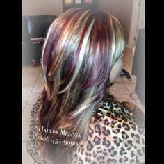 Gorgeous Red, Blonde & Chocolate Brown #Highlights and #lowlights