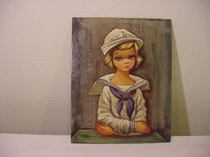 Vintage Eden Sailor Girl  Mounted Litho Print by HardlyAbleStable, $9.00