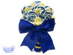 Royal Blue and Yellow Lollipop Bouquet, Candy Bouquet, Lollipop Bouquet, Royal Blue Wedding, Bridal Bouquet, Wedding Bouquet, Rehearsal on Wanelo