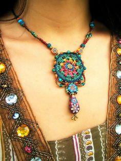 ~ crochet jewelry with handmade beads ~ by AowDusdee, via Flickr.