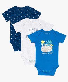 31781e86d69a6 Bodies bébé à manches courtes encolure américaine (lot de 3) Bleu