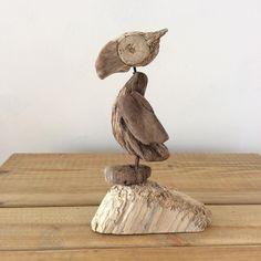Puffin on Cliff. #puffin #driftwoodpuffin #driftwoodart #beachtheme #driftwood