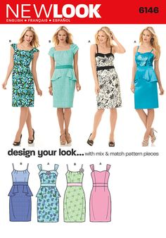 """misses' dress has midriff band, knee length pencil skirt with optional peplum, bodice, strap and sleeve variations.  design your look sewing pattern lets you be your own designer with mix and match design elements.<br><br><img src=""""skins/skin_1/images/icon-printer.gif"""" alt=""""printable pattern"""" /><a href=""""#"""" onclick=""""toggle_visibility('foo');"""">printable pattern terms of sale</a><div id=""""foo"""" style=""""display:none; margin-top: 30px;"""">digital patterns are tiled and labeled so you can print and…"""